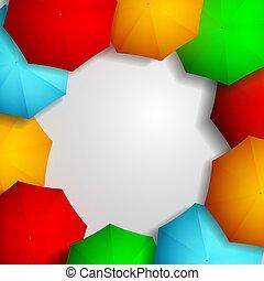 cadre, coloré, parapluies
