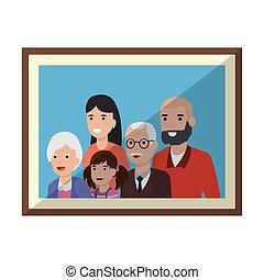 cadre, conception, isolé, famille