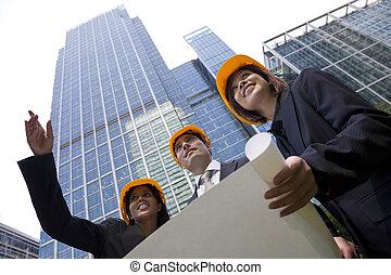 cadre, construction, équipe