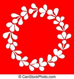 cadre, couronne, vecteur, fond, laurier, blanc rouge
