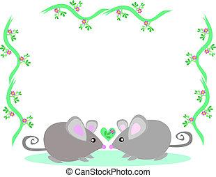 cadre, de, deux, aimer, souris