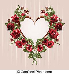 cadre, depuis, roses rouges