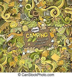 cadre, dessin animé, fond, camping