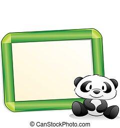 cadre, dessin animé, panda
