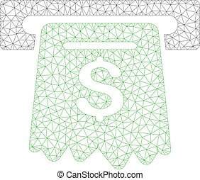 cadre, distributeur billets banque, illustration, polygonal, vecteur, maille