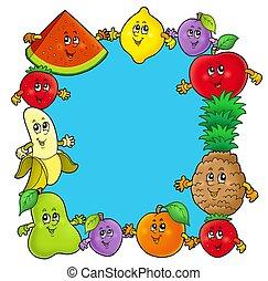 cadre, divers, dessin animé, fruits