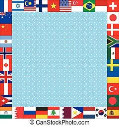 cadre, drapeaux, fond