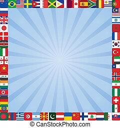 cadre, drapeaux, fond, icônes