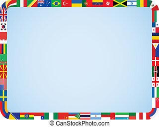 cadre, drapeaux, mondiale