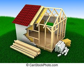 cadre, emmagasiner construction