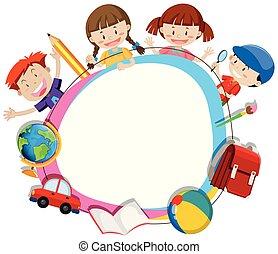 cadre, enfants, cercle, surroding, vide