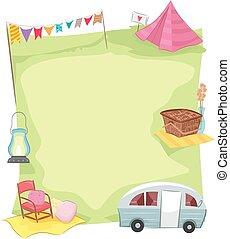 cadre, ensemble, camping, glamping