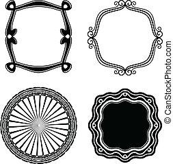 cadre, ensemble, ornamental., vecteur