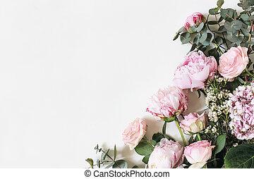 cadre, eucalyptus, floral, stockage, hortensia, pivoine, poser, arrière-plan., féminin, vue., sommet, plat, fleurs, corner., appelé, photo, branches, feuilles, roses, décoratif, rose, isolé, botanique, blanc