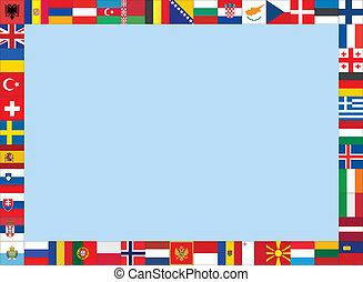 cadre, fait, drapeaux, européen