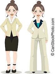 cadre, femme, asiatique