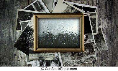cadre, fenêtre., pluvieux, triste, dehors, past., memories...