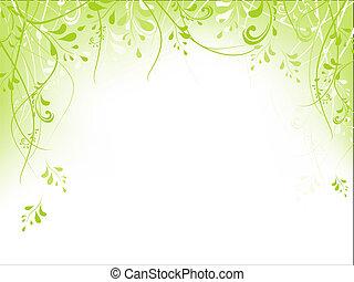 cadre, feuillage, vert