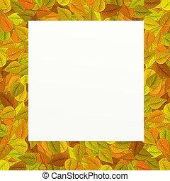 cadre, feuilles, fond