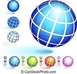 cadre, fil, globe, collection