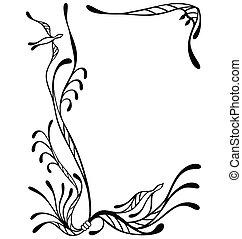 cadre, fleur, oiseau, famille
