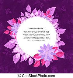 cadre, fleur, rond, texte, pink-violet