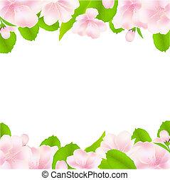 cadre, fleurs, arbre, pomme