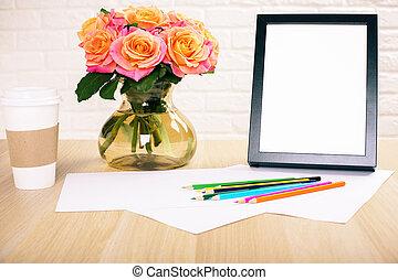 cadre, fleurs, café