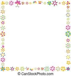 cadre, fleurs, conception, ton