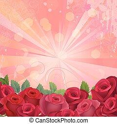 cadre, fleurs, fond