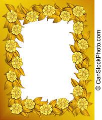 cadre, fleurs, -, or
