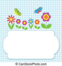 cadre, fleurs, papillons