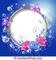 cadre, fleurs, rond