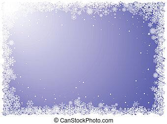 cadre, flocons neige