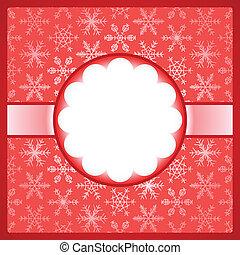cadre, flocons neige, rouges