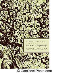 cadre, floral, vecteur, arrière-plan vert, petit