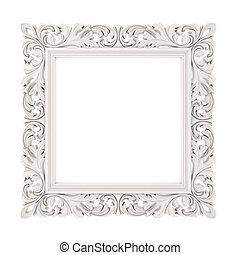 cadre, fond blanc, 3d