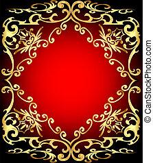 cadre, fond, ornementation, or, rouges