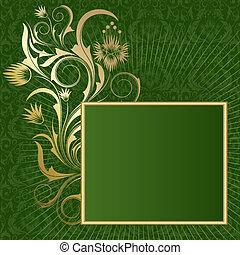 cadre, fond, vert