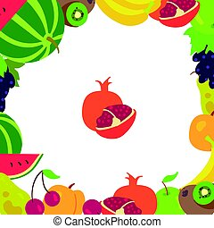 cadre, fruit, fond blanc
