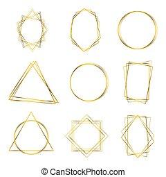 cadre, géométrique, or, polyhedron.