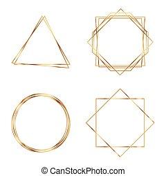 cadre, géométrique, polyhedron., or