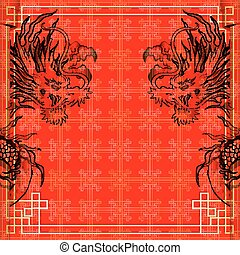cadre, gold-colored, dragon, 3, autocollant, rouges