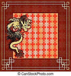 cadre, gold-colored, dragon, 6, autocollant, rouges