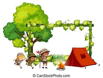 cadre, gosses, camping, gabarit