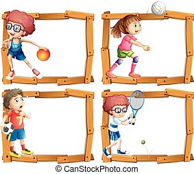 cadre, gosses, jouer, gabarit, sports