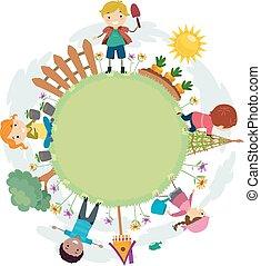cadre, gosses, stickman, jardin, illustration