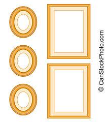 cadre graphique, bois, chêne, galerie