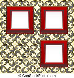 cadre graphique, résumé, fond, rouges