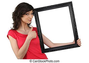 cadre graphique, tenue femme